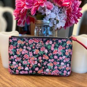 COACH large Pansy wristlet in black and pink